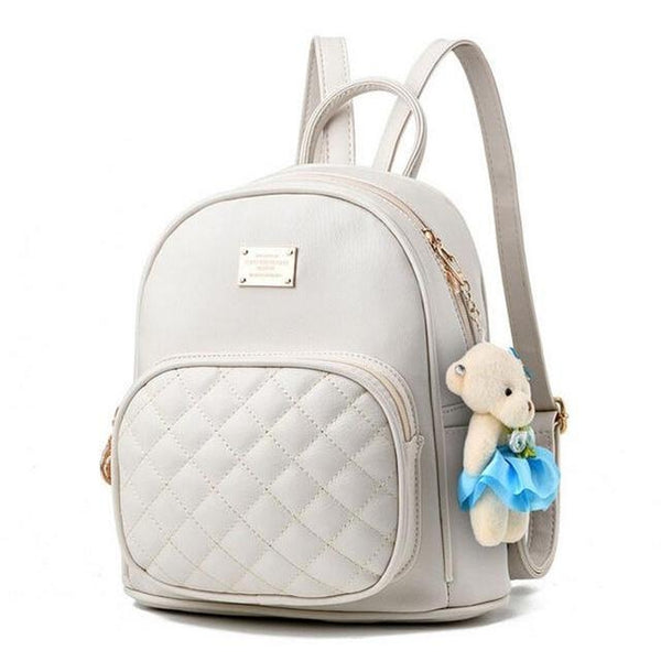 <bold>Youth Fashion Backpack  <br>Vegan-Leather Fashion Backpack White backpack - strapsandbrass.com
