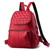 <bold>Casual Backpack <br>Vegan-Leather Fashion Backpack Redbackpack - strapsandbrass.com