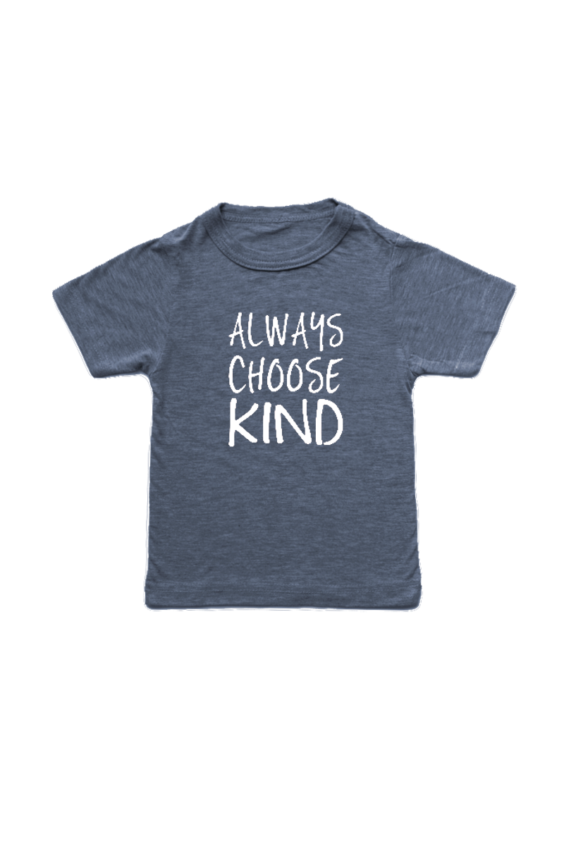 "Navy kids tee with ""always choose kind"" written on it."