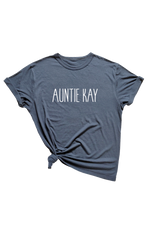 "A navy t-shirt with ""Auntie Kay"" written on it."