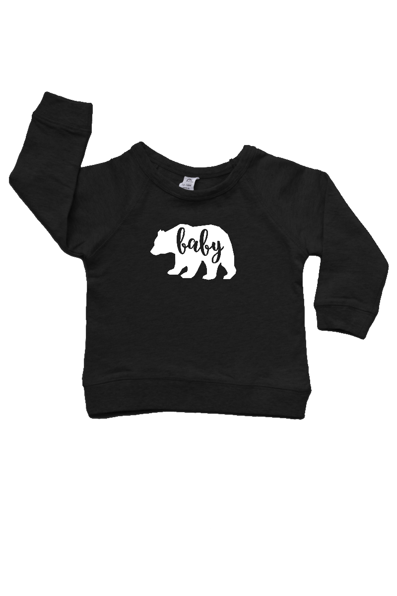 "A black sweatshirt with a bear on it with the word ""baby"" written inside it."