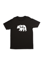 "Black kids tee with a bear on it. The word ""baby"" is written inside the bear."