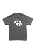 "A grey t-shirt with a bear on it.  The bear says ""baby"" inside."