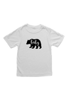 "White kids tee with a bear on it.  The word ""baby"" is written inside the bear."