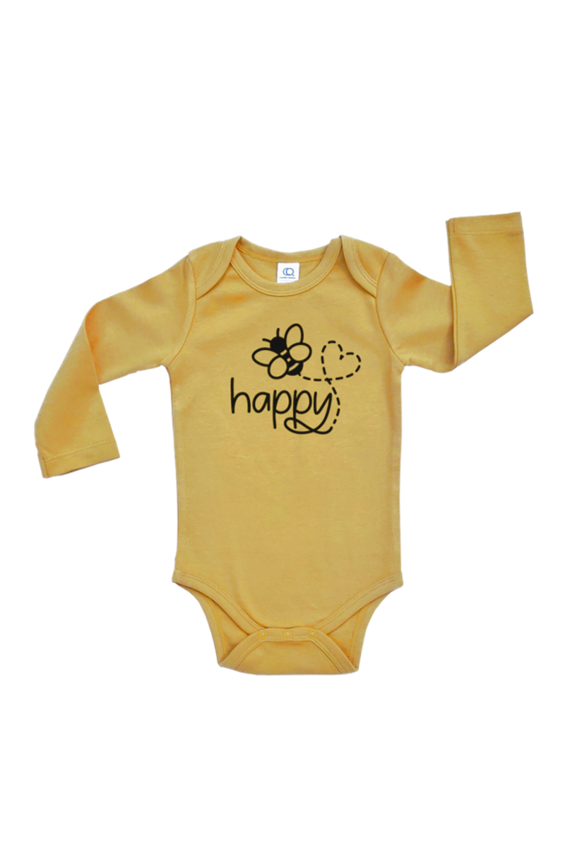 "Yellow bodysuit with a bee on it and the word ""happy""."