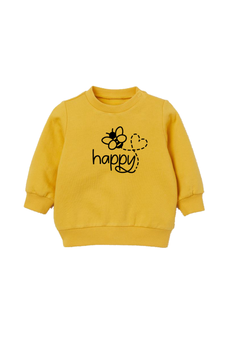 "Yellow sweatshirt with a bee on it and the word ""happy""."