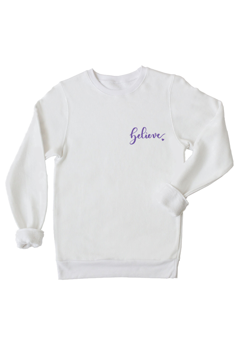 "A white sweatshirt with the word ""believe"" written on the left chest."