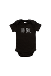 "A black short-sleeved bodysuit with the words ""big bro"" written on it."