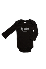 "A black long-sleeve bodysuit with the words ""big brother est. 2019"" written on it."