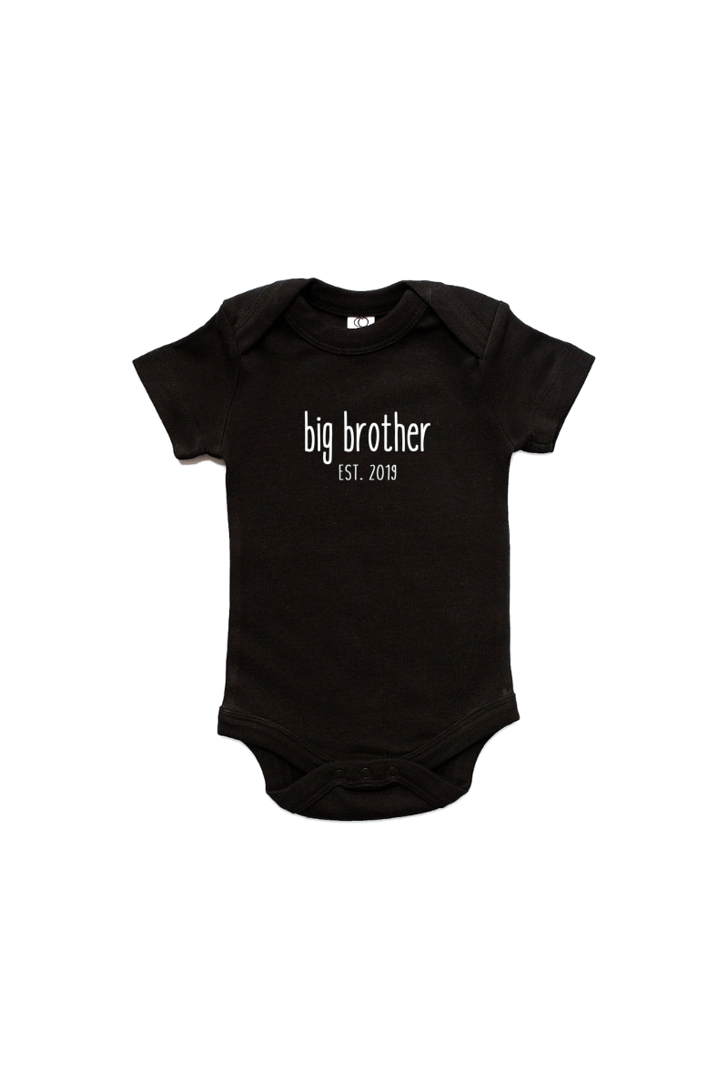 "A black short-sleeve bodysuit with the words ""big brother est. 2019"" written on it."