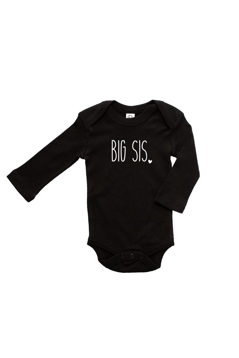 "A black long-sleeved bodysuit with the words ""big sis"" written on it."