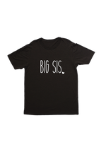 "Black kids tee with ""big sis"" written on it."