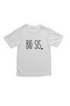 "White kids tee with ""big sis"" written on it."