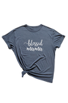 "Navy t-shirt with ""blessed mama"" written on it."
