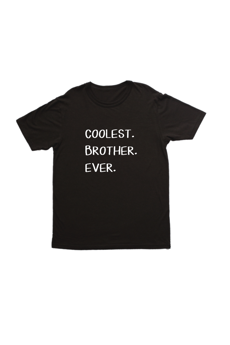 "Black kids tee with ""coolest brother ever"" written on it."