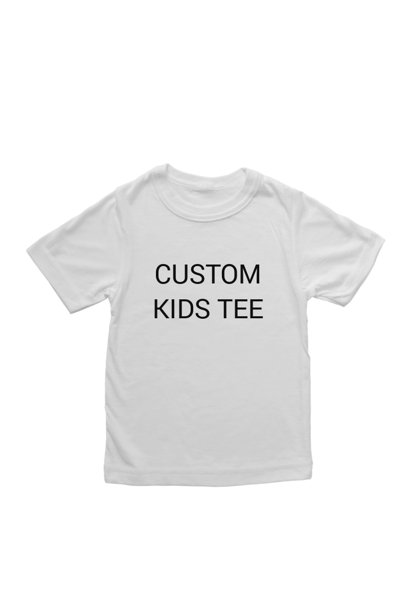 "A white t-shirt that says ""custom kids tee""."