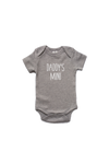 "Grey bodysuit with ""daddy's mini"" written on it."