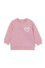 Pink sweatshirt with a heart on the left chest.