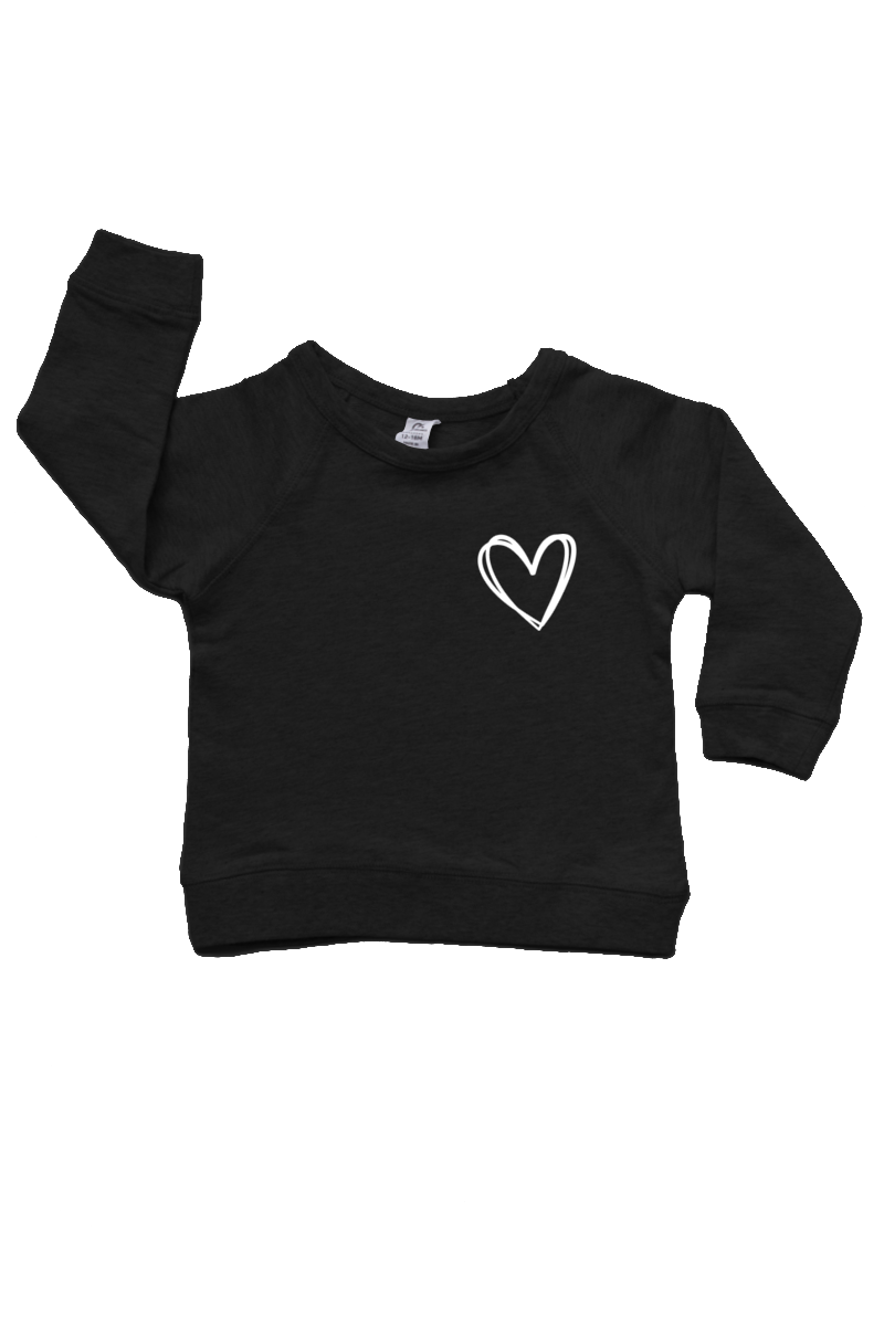 Black sweatshirt with a heart on the left chest.