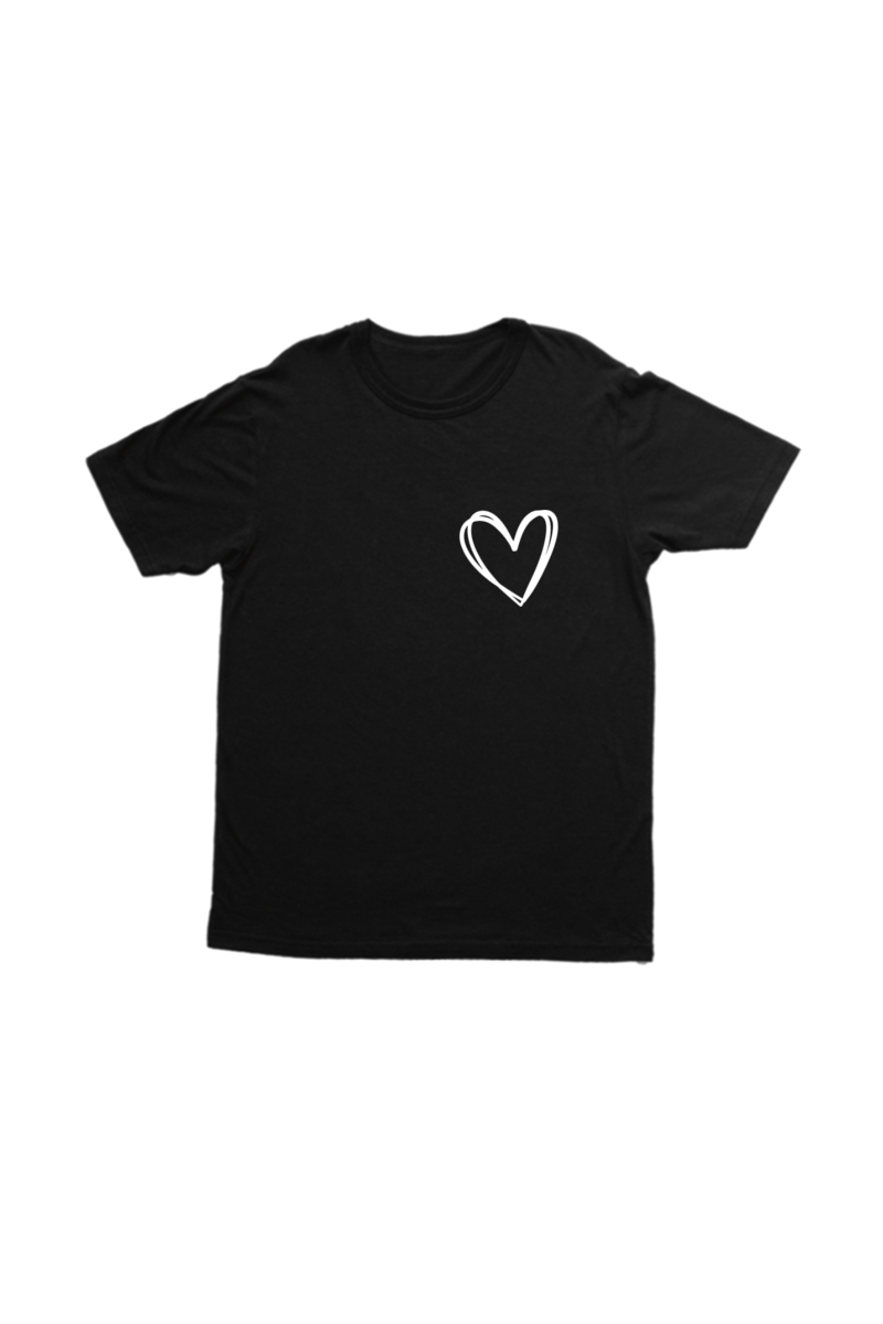 Black kids tee with a heart on the left chest.