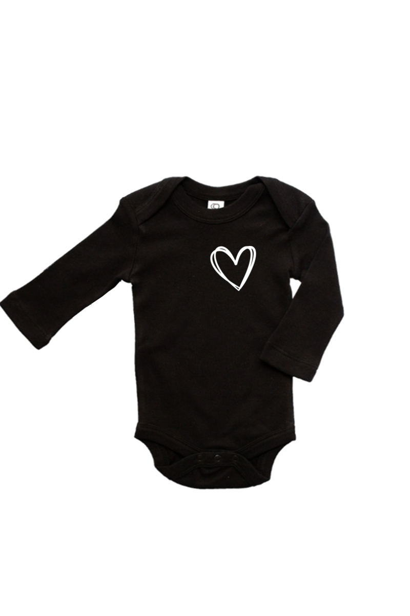 A black long-sleeve onesie with a heart on the left chest.