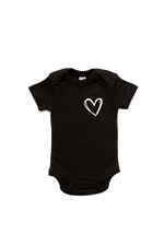 A black onesie with a heart on the left chest.