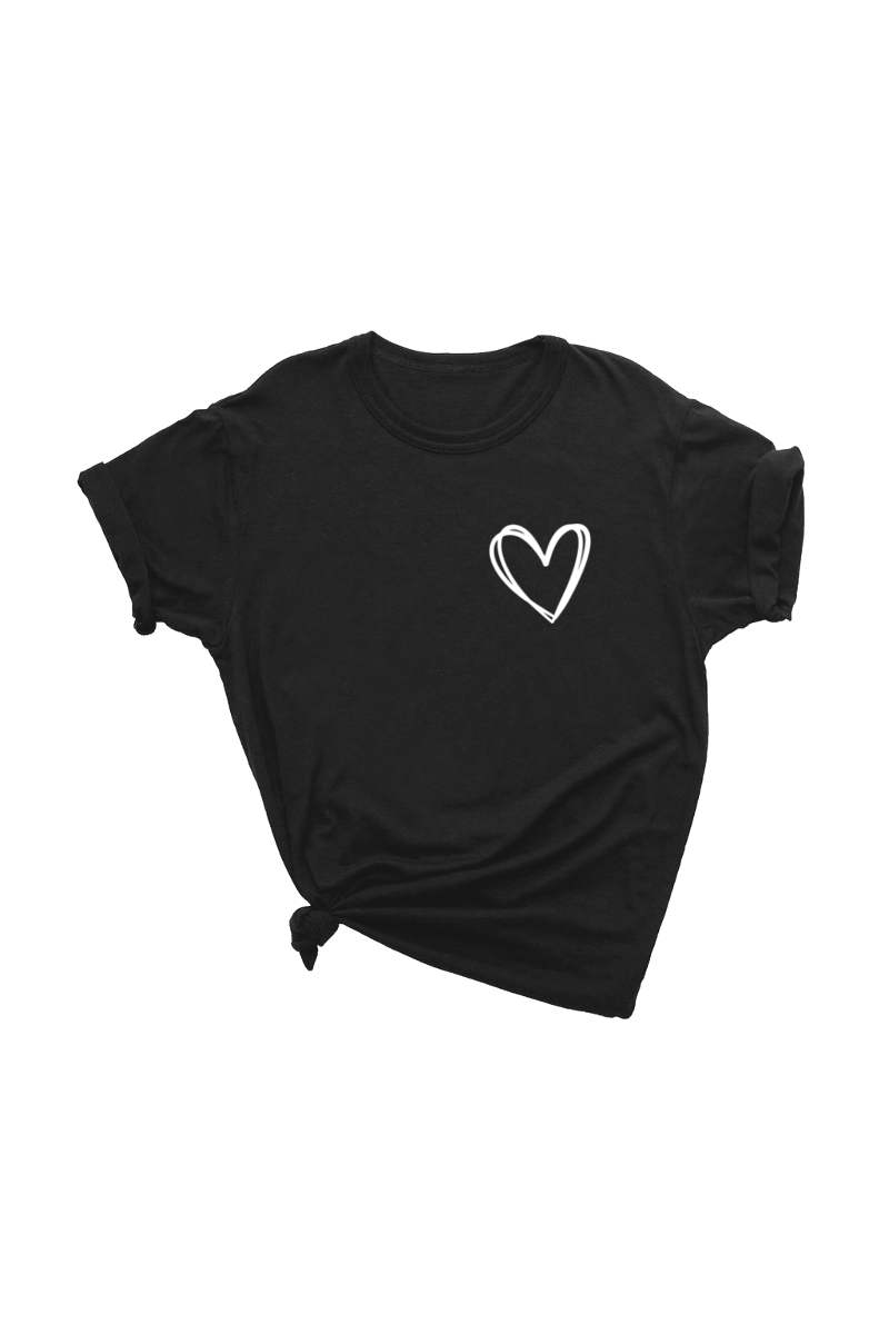Black t-shirt with a heart on the left chest.