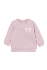 Blush sweatshirt with a heart on the left chest.