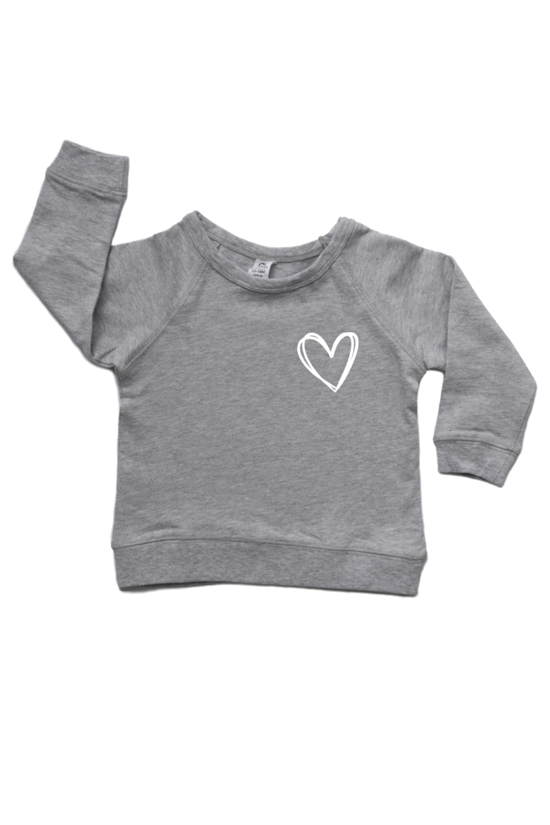 Grey sweatshirt with a heart on the left chest.