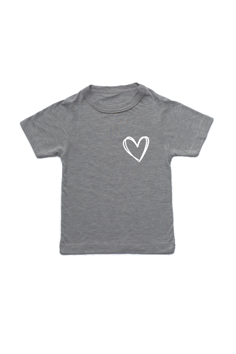 Grey kids tee with a heart on the left chest.
