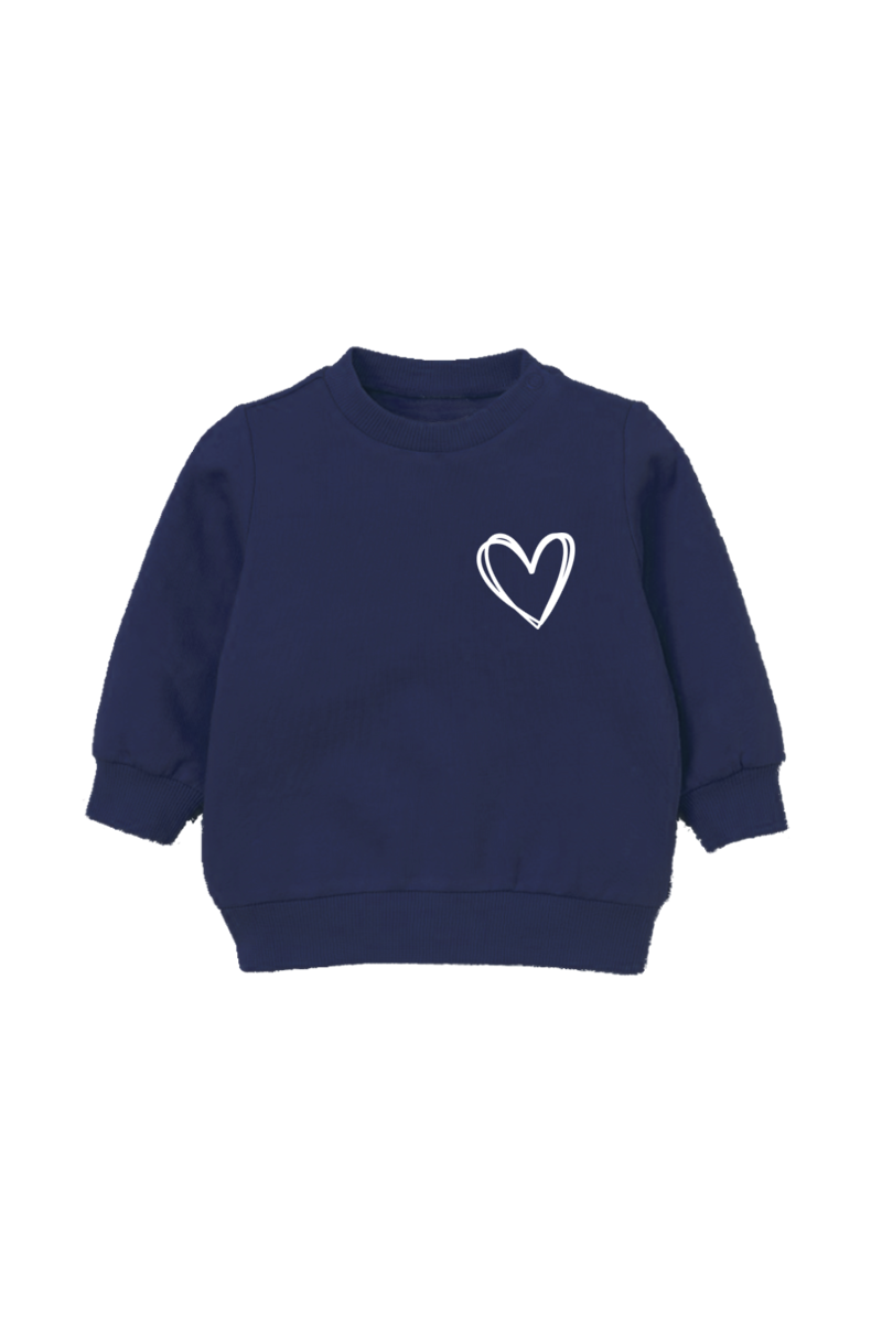 Navy sweatshirt with a heart on the left chest.