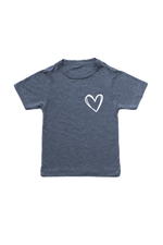 Navy kids tee with a heart on the left chest.