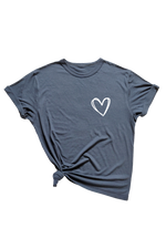 Navy t-shirt with a heart on the left chest.