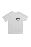 White kids tee with a heart on the left chest.