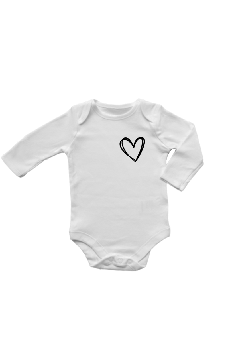 A white long-sleeve onesie with a heart on the left chest.
