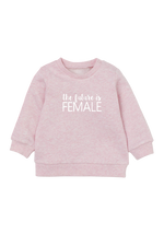 "Blush sweatshirt with the words ""the future is female"" written on it."