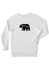 "A white sweatshirt with ""grampy"" written inside a black bear silhouette."