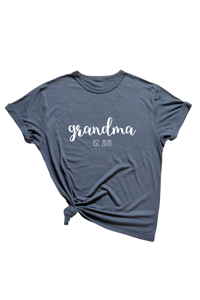 "Navy t-shirt with ""grandma est. 2020"" written on it."