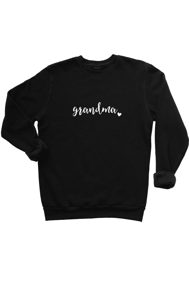 "A black sweatshirt that says ""grandma""."