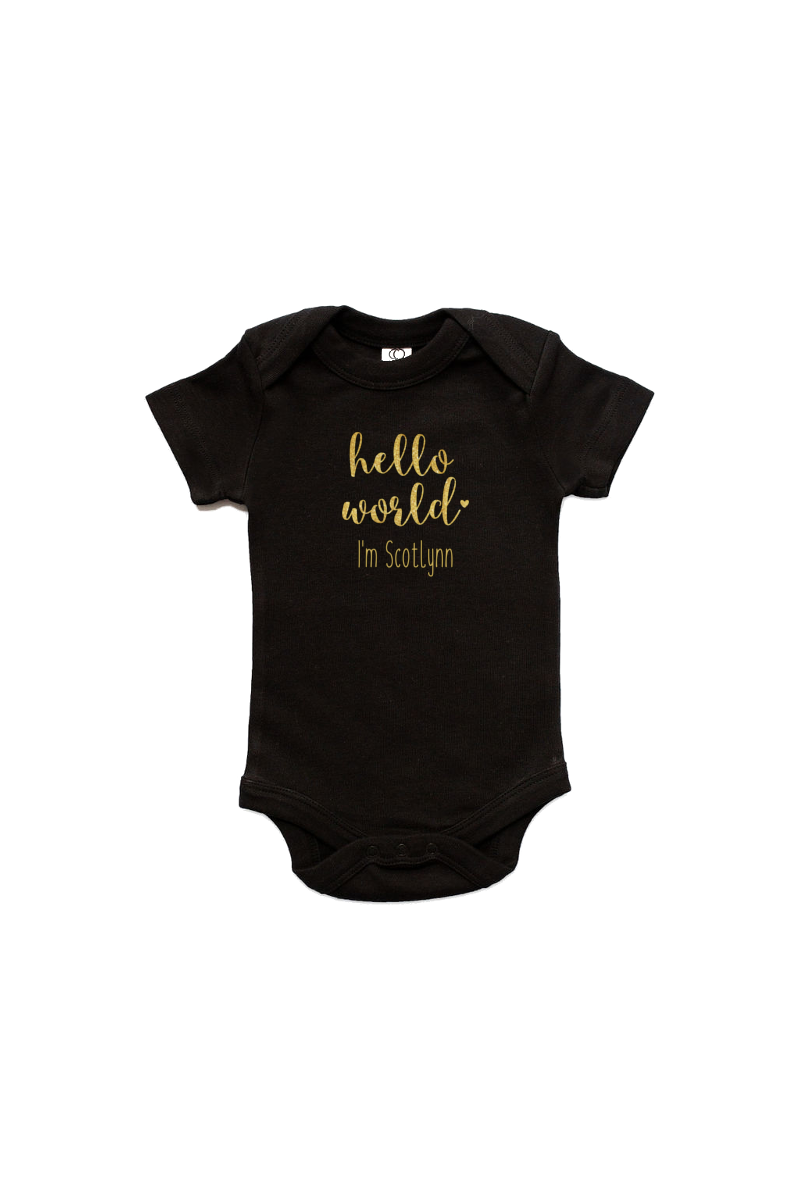 "A black bodysuit with ""hello world I'm Scotlynn"" written on it."