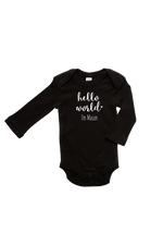 "A black bodysuit with ""hello world I'm Mason"" written on it."