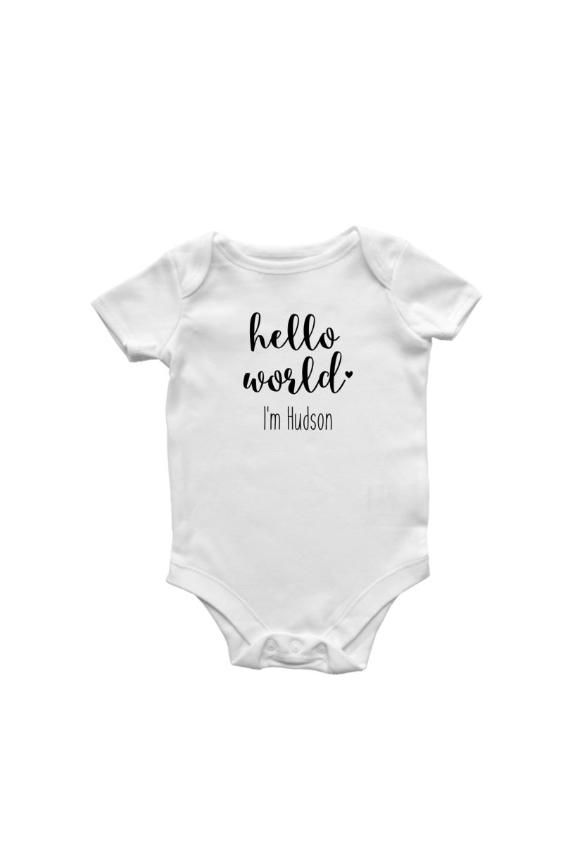"A white bodysuit with ""hello world I'm Hudson"" written on it."