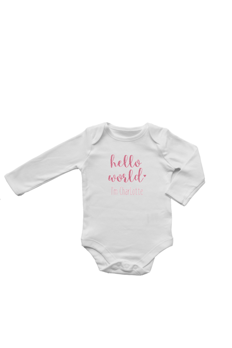 "A white bodysuit with ""hello world I'm Charlotte"" written on it."