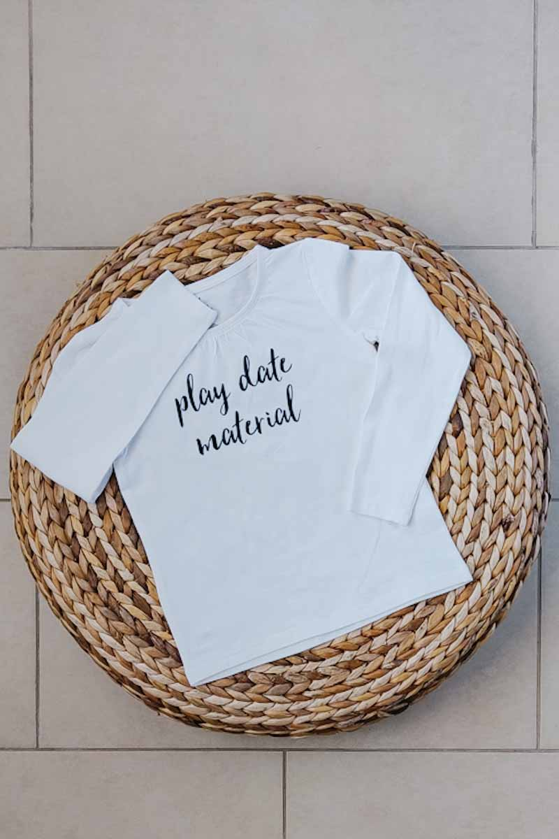 """Play Date Material"" Organic Cotton Long-sleeve Fitted Tee 3T"