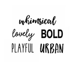 Font choices include whimsical, lovely, playful, bold, and urban.
