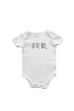 "A white short-sleeved bodysuit with the words ""little bro"" written on it."