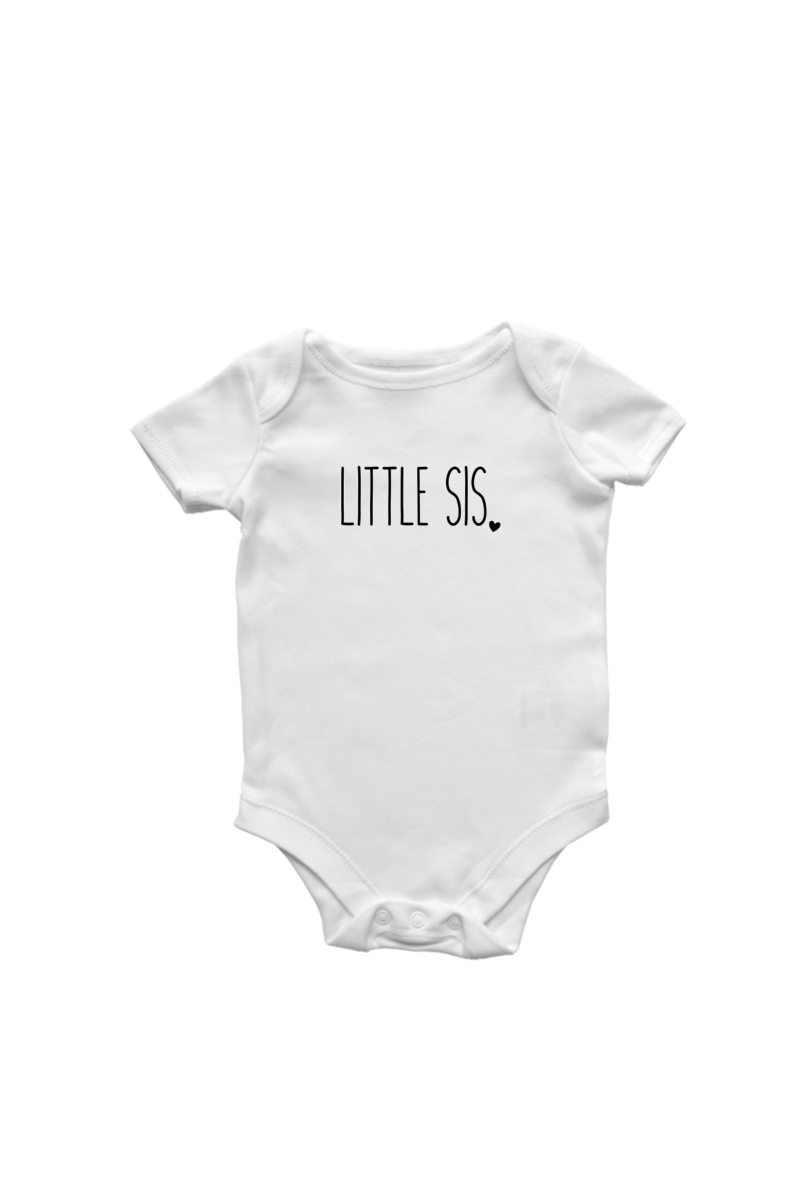 "A white short-sleeved bodysuit with the words ""little sis"" written on it."
