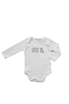 "A white long-sleeved bodysuit with the words ""little bro"" written on it."