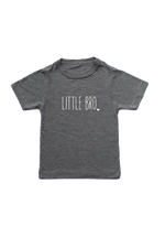 "Grey kids tee with ""little bro"" written on it."