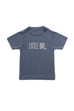 "Navy kids tee with ""little bro"" written on it."